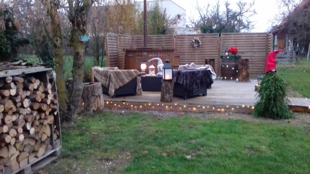 Terrasse déco hiver bain jour
